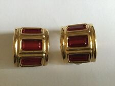 VINTAGE GIVENCHY DESIGNER LARGE RED BAGUETTE CUT STONE EARRINGS CLIP ONS