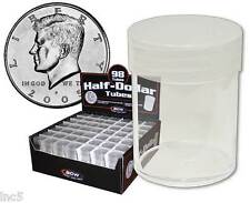 5 BCW Clear Round Plastic Coin Tubes for Half Dollars