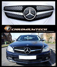 Black Chrome SPORTS 1-Fin Grill for Mercedes W204 C-Class Saloon Coupe Estate