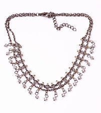 GLAMOROUS METAL CHAIN CHOKER LOVELY GREY BEADS TINY SPARKLY CHARMS (ZX26)