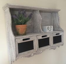 Shabby Chic Style Grey Wall Unit Shelf Chalk Board Blackboard Message Hooks