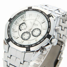 Mens CURREN Fashion Waterproof Alloy-steel Band Digital Quartz Wrist Watch White