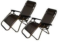 Set of 2: Zero-Gravity Beach Lawn and Yard Patio Chair with Head Rest - Brown