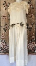 1920s Ethereal Cream Silk Chiffon Dress Lace Collar Lamé Rose Waistband Vintage