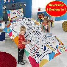 MISTER MAKER COLOUR AND PLAY SINGLE PANEL DUVET SET (6 WASHABLE PENS INCLUDED)
