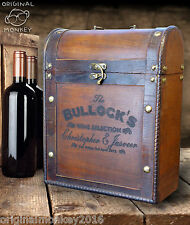 VINTAGE ANTIQUE STYLE WINE BOX PERSONALISED GIFT FOR ANY OCCASION FITS 3 BOTTLES