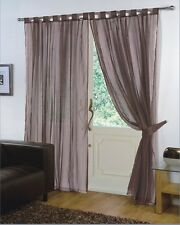 PAIR - VOILE NET PANELS TAB TOP 59'' X 90'' CURTAINS - CHOCOLATE BROWN
