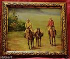 "Oil Painting on Canvas in Antique Style 22x18"" Frame-Cowboys"