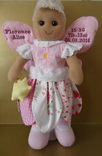 PERSONALISED RAG DOLL FAIRY ANGEL FOR NEW BABY GIRL 40CM GIFT TEXT ON WINDS BEAR