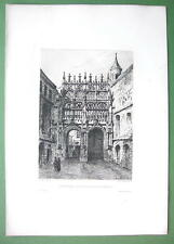 ORIGINAL ETCHING Print - ROUEN France Cathedral Portals of Stationers