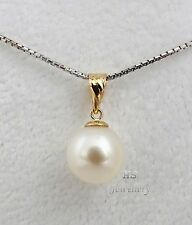 HS Round South Sea Cultured Pearl 9.81mm Pendant 18K Yellow Gold Top Grading NR!