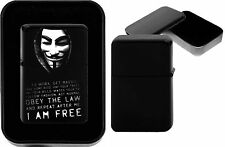 ANONYMOUS MANIFEST on Black Chrome Metal Flip Top Petrol Lighter Birthday Gift
