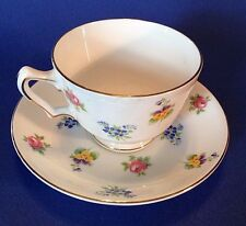 Crown Staffordshire Pedestal Tea Cup And Saucer - Roses Pansies Forget-Me-Nots