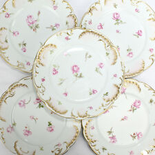 Six H & Co. Limoges Hand Painted Dessert Plates with Pink Roses - Schleiger? PC
