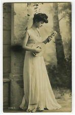 c 1910 Pinup Glamour Pretty LADY w/ MANDOLIN Music musical photo postcard