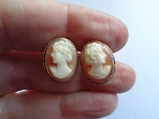 SCARCE VICTORIAN 9 CARAT ROSE GOLD & SHELL CAMEO SCREW EARRINGS NON PIERCED GIFT