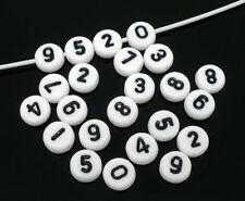 1000 Hot Sell Mixed White Acrylic Numbers Spacer Beads 7mm
