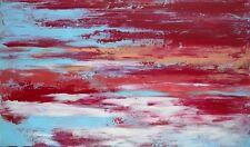 ART CONTEMPORAIN, tableau abstrait, peinture de H.ZEN - LA BAIE, LE SOIR - 27x46