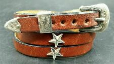 NEW Brown HATBAND Leather w/ SILVER STAR CONCHOS & Buckle Set Cowboy Hat Band