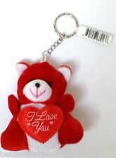 Plush Red Teddy Bear Keychain Family valentine's day,I Love you Heart Attached