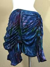 Mudmee Tie Dye Purple and Blue Cinch Up Burlesque Mini Festival Skirt Jayli- M1