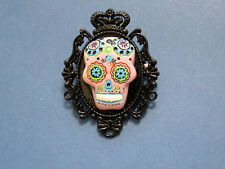 GOTH / Day of the Dead PINK Sugar Skull Cameo Black Plt BROOCH/PIN /Tie Tack