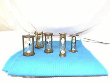 Hourglass Brass Hourglass Timers (5 of them)  Various Times All Work  3""
