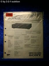 Sony Service Manual CDP 897 CD Player (#0542)