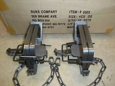 2 New Duke # 4 OFFSET 4X4 Coil Spring Traps  Beaver Bobcat Coyote Lynx Trapping