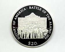 1836 TEXAS BATTLE OF THE ALAMO 2000 LIBERIA $20 999 Silver Coin American Mint