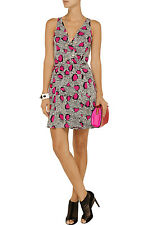 $375 NWT Diane von Furstenberg DVF Black White Pink Cheetah OBLIXE Wrap Dress 6