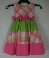 Rare Editions Pink Green Color Block Plaid Spring Easter Dress 5