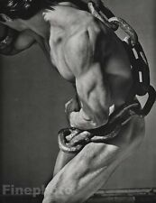 1985 Vintage 11x14 MALE NUDE Man With Chain Body Physique Photo Art ~ HERB RITTS