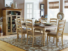 GIARDINO - 7pcs Cottage Two Tones Brown Rectangular Dining Room Table Chairs Set