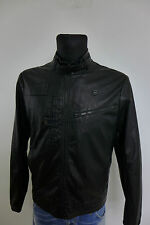 SP0719 Men G-Star Raw Denim Black Genuine Leather Biker Jacket Size L