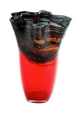 "New 14"" Hand Blown Glass Art Vase Red Black Handkerchief Ruffle Decorative"