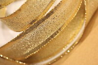 15mm Wire Edge Glitter Gold Lame Ribbon x 5 metres Christmas Gift Wrapping x 5M