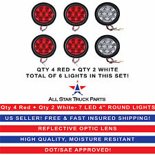 "4"" Inch 7 LED Round Stop/Backup/Reverse Truck Tail Light Kit - 4 Red + 2 White"