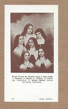 St.THERESE of CHILD JESUS Lisieux w/4 sisters + cousin CARMELITES. Vtg HOLY CARD