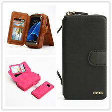 PU Leather Zipper Wallet Removable Flip Purse Card Cover Case For iPhone Samsung