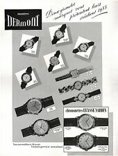 ▬► PUBLICITE ADVERTISING AD Montre Watch DERMONT 1954