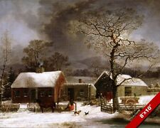 WINTER FARM SCENE NEW HAVEN CONNECTICUT OIL PAINTING ART REAL CANVAS PRINT