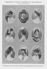 Edwardian Ladies Competition For a Substitute for Matinee Hat-Antique Print 1905