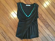 BLUEMARINE Sleeveless V Neck Top Blouse Size M (6)