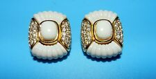 BEAUTIFUL CHRISTIAN DIOR SIGNED WHITE & SWAROVKI CRYSTAL GOLD TONE CLIP EARRINGS