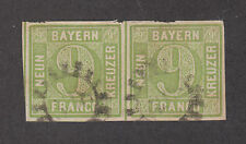 Bavaria Mi 5dII pair used 1862 9kr yellow green Numeral, type II F-VF