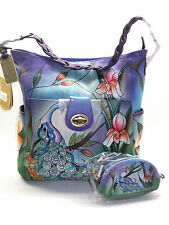 Anuschka Hand-Painted Leather Shoulder Bag w/ Coin Pouch Midnight Peacock NWT