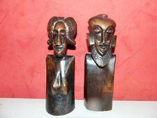 paire de statues africaine couple art déco en bois ébene haut 25cm