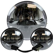 "7"" Motorcycle LED Projector Daymaker Headlight Passing Lights Harley Touring 2"