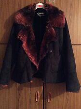 Beautiful Black Suede Effect Soft Red Fur Collar & Lining Jacket Coat Size 10-12